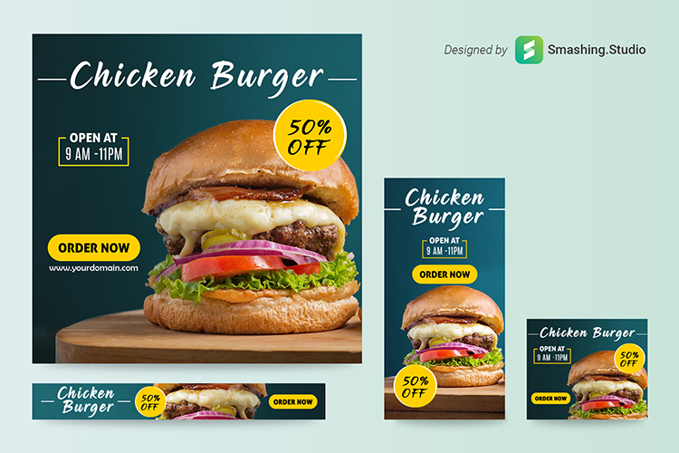 Free Burger Shop Web Banner Set